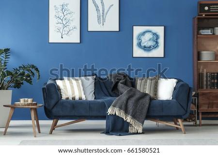 Retro decorated sofa in elegant living room