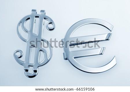 Metallic silver sign euro and dollar #66159106