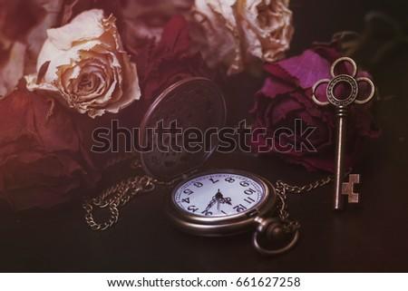 Roses,  pocket watch and old key. Vintage Wonderland background. Soft selective focus, toning