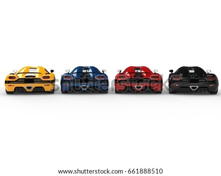 Great sports concept cars in various colors - back view - 3D Illustration #661888510