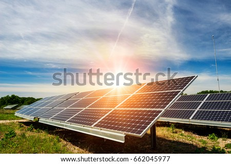 Solar panel, photovoltaic, alternative electricity source - concept of sustainable resources Royalty-Free Stock Photo #662045977