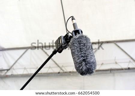 Sound record boom microphone.