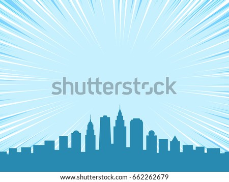 Comic book style background, big city skyline outlines
