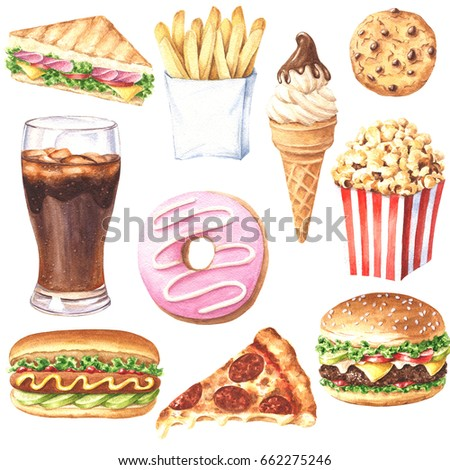 Set of hand drawn delicious fast food meal, realistic illustration isolated on white background.