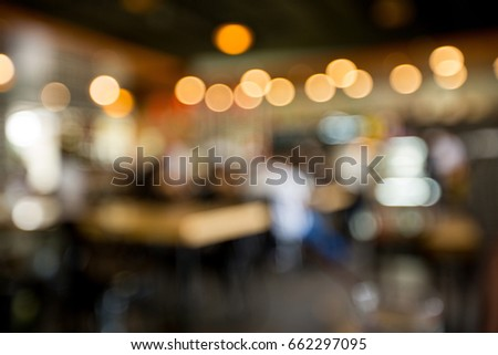Table in the restaurant at night with bokeh light #662297095