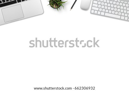 Modern workplace with notebook, keyboard, smartphone, tree and pencil copy space on gray background. Top view. Flat lay style.