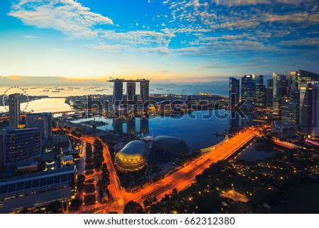 Aerial view of Singapore skyline business district and cityscape  at twilight in Singapore, Asia. #662312380