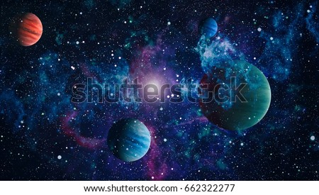 Nebula and galaxies in space.Planet and Galaxy - Elements of this Image Furnished by NASA .