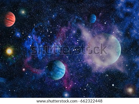 Nebula and galaxies in space.Planet and Galaxy - Elements of this Image Furnished by NASA #662322448