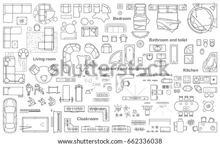Set of furniture top view for apartments plan. The layout of the apartment design, technical drawing. Interior icon for bathrooms, living room, kitchen, bedroom, hallway . Vector illustration. Royalty-Free Stock Photo #662336038