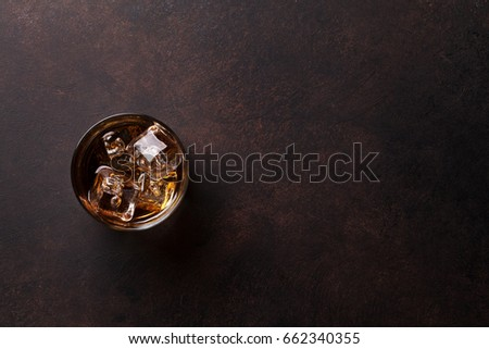 Whiskey with ice. Top view with copy space #662340355