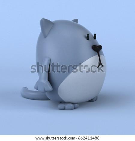 Fun cat - 3D Illustration #662411488