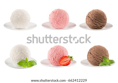 Ice cream scoops collection of six balls on plate - creamy, strawberry, chocolate - decorated mint leaves, slice berry. Isolated on white background. Template for menu. #662412229