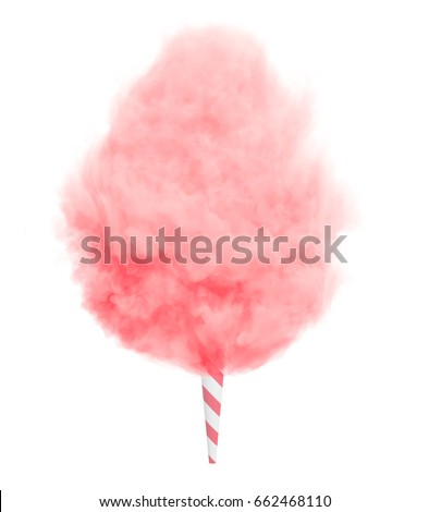 Pink cotton candy on a striped stick isolated on white background. #662468110