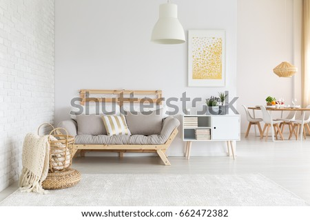 White, beige and gold furniture and decorations in living room #662472382