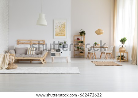 White, modern open space with wooden furniture set #662472622