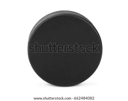 Ice hockey puck isolated on white background #662484082