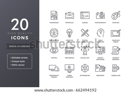 Web and graphic design icons. Vector creative and development icon set with editable stroke Royalty-Free Stock Photo #662494192