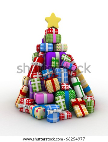 3D Illustration of Gifts Forming the Shape of a Christmas Tree