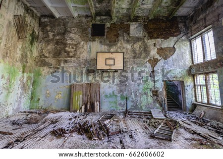 School gym in abandoned military town called Chernobyl-2 in Chernobyl Exclusion Zone, Ukraine #662606602
