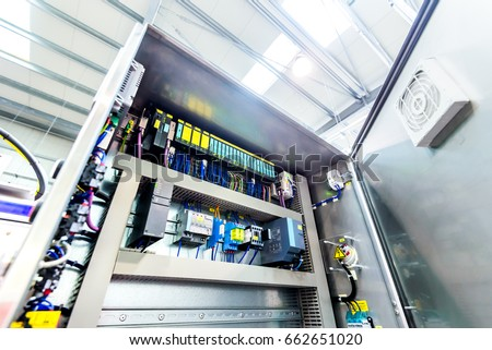 Electric control panel enclosure for power and distribution electricity. Uninterrupted, electrical voltage. Royalty-Free Stock Photo #662651020