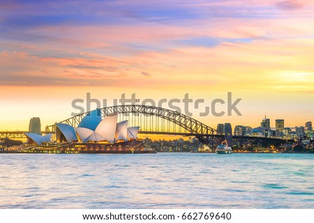 Downtown Sydney skyline in Australia at twilight Royalty-Free Stock Photo #662769640