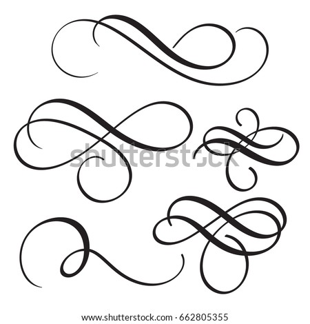 set of vintage flourish decorative art calligraphy whorls for text. Vector illustration EPS10