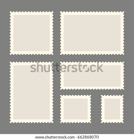 Postage stamps template. Blank rectangle and square postage stamps. Flat style modern vector illustration with retro colors. For for envelopes, postcards or letter retro style paper. Royalty-Free Stock Photo #662868070