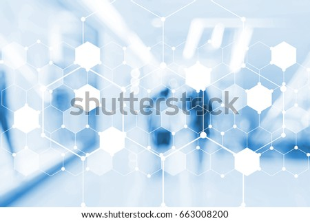 blurred image of polygon and abstract people background for technology concept