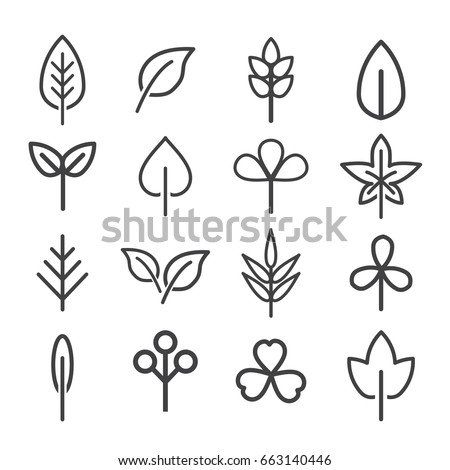 leaf icons set. vector illustration. #663140446