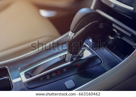 automatic gear parked inside modern vehicle car automobile #663160462