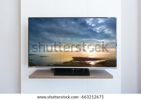 TV television, Sea scape on screen white wall background #663212671