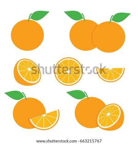 Orange Slice Vector Set. Orange Illustration Fruit Vector Design Stock Image #663215767