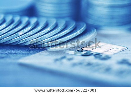 Double exposure Rows of coins of Credit cards on the table,finance and business concept,Money,soft focus and blurred style,dark tone. #663227881