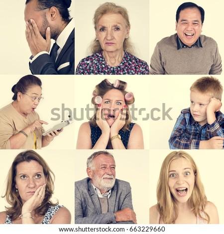 Diversity people set emotional on white background #663229660