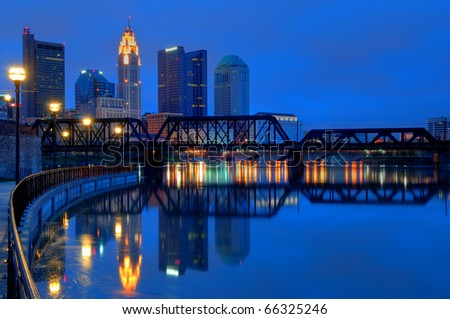Columbus Ohio Skyline at Night:  A view of Columbus, Ohio�s cityscape overlooking the Scioto River at night.