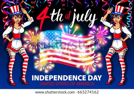 illustration of a girl celebrating Independence Day Vector Poster. 4th of July Lettering. American Red Flag on Blue Background with Stars burst. firework art #663274162