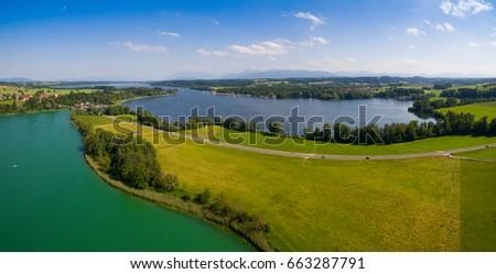 Aerial Panorama: Lake Waginger See and Lake Tachinger See, Bavaria #663287791