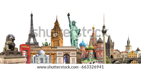 World landmarks photo collage isolated on white background, travel, tourism and study around the world concept Royalty-Free Stock Photo #663326941