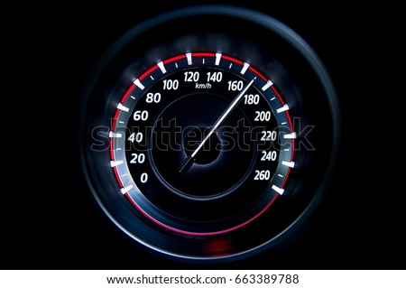 170 Kilometers per hour,light with car mileage with black background,number of speed,Odometer of car. Royalty-Free Stock Photo #663389788