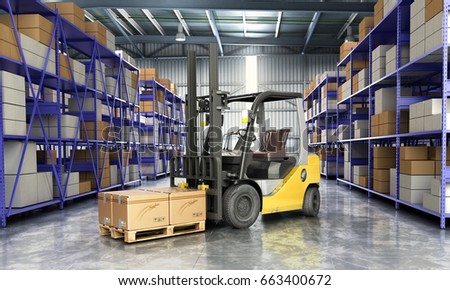 Concept of warehouse The forklift in the big warehouse delivery background 3d illustration #663400672