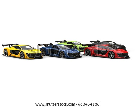 Superb supercars racing - red one leading the close race - 3D Illustration #663454186