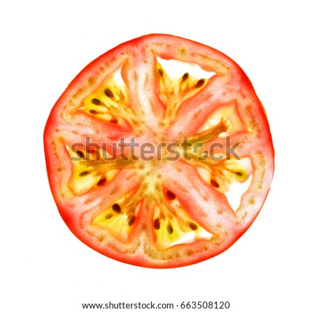 Close up image of thin cross sliced tomato isolated on white background, fruit flesh texture, abstract plant structure pattern Royalty-Free Stock Photo #663508120