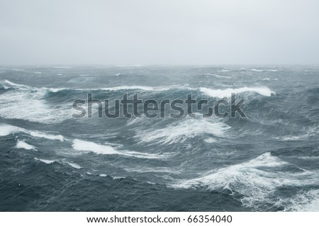 waves during a storm in the Atlantic Ocean Royalty-Free Stock Photo #66354040