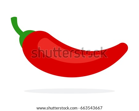 Chili pepper flat vector material design isolated on white Royalty-Free Stock Photo #663543667