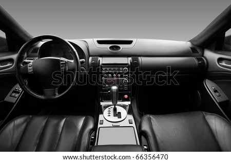 View of the interior of a modern automobile showing the dashboard #66356470
