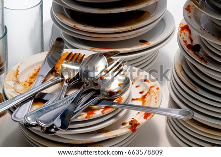Close Up of dirty dishes. #663578809
