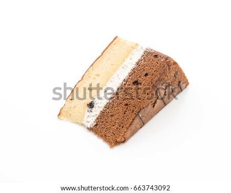 rum raisin and chocolate chiffon cake isolated on white background #663743092