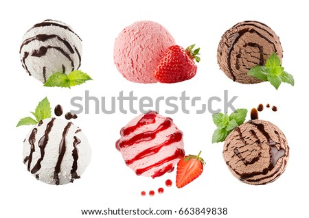 Ice cream scoops collection of six balls, decorated striped chocolate sauce, mint leaves, slice strawberry. Isolated on white background. Template for menu. #663849838