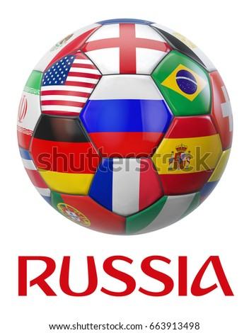 Russia football showing Russian flag surrounded by other national teams flags from around the world. Clipping path included for easy selection. 3D illustration. #663913498